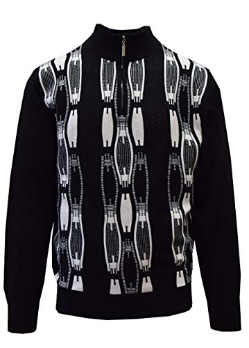 STACY ADAMS Men's Sweater, Vertical Neo Chain Front Design (5XL, Black/White) ()