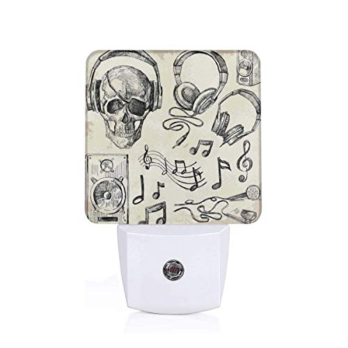 Colorful Plug in Night,Sketchy Background Hipster Skull with Headphones Record Player Mic Speakers Print Art Theme,Auto Sensor LED Dusk to Dawn Night Light Plug in Indoor for Childs Adults (Run Nyc Headphones)