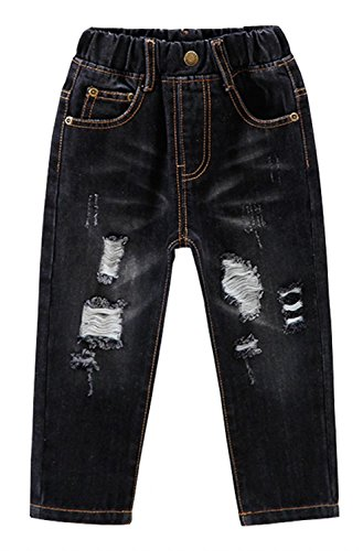 - EMAOR Little Baby Girls Boys Kids Ripped Jeans Denim Pants With Holes Black, US 4T