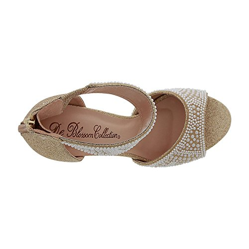 De Blossom Collection Womens Shimmer Heeled Sandal With Faux-Pearl Applique (6.5, Nude)