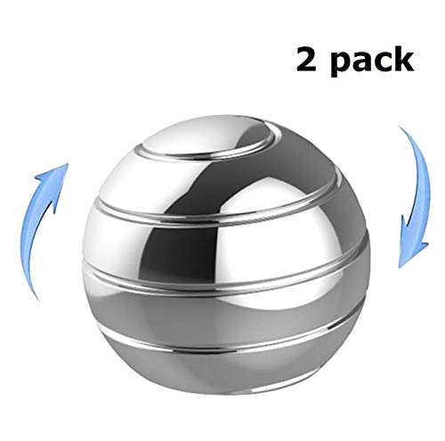 fun109 Desk Toy Stress Relief Toys Office Executive Toys Metal Fidget Spinner Ball with Optical Illusion for Adults & Kids, Anti Anxiety ADHD Relieve Stress Inspire Inner Creativity (2 Packs)