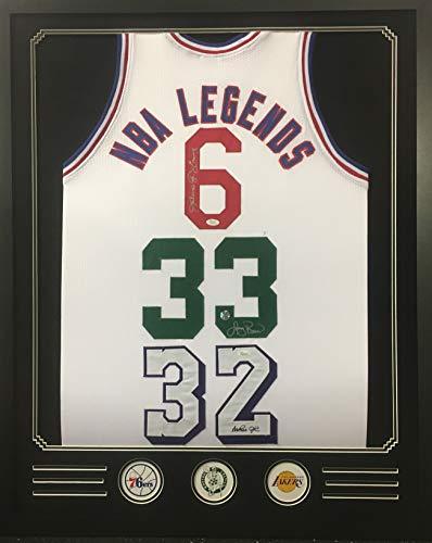 Dr. J Julius Erving Larry Bird Magic Johnson Lakers 76ers Celtics TRIPLE Autograph Signed Custom Framed Jersey NBA LEGENDS Black Suede Matted JSA Witnessed Certified