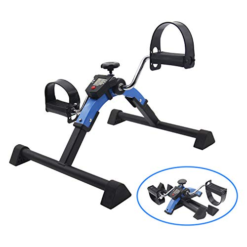 Flywheel Recumbent Exercise Bike - Friday discount Stationary Exercise Bike Indoor Under Desk Pedal Exerciser with LCD Monitor and Adjustable Resistance Fitness Foot Bike Blue