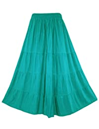 Beautybatik BOHO Gypsy Long Maxi Tiered Skirt Plus Sz XL to 3X