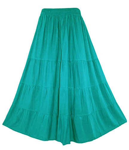 Beautybatik Turquoise Boho Gypsy Long Maxi Tiered Skirt XL