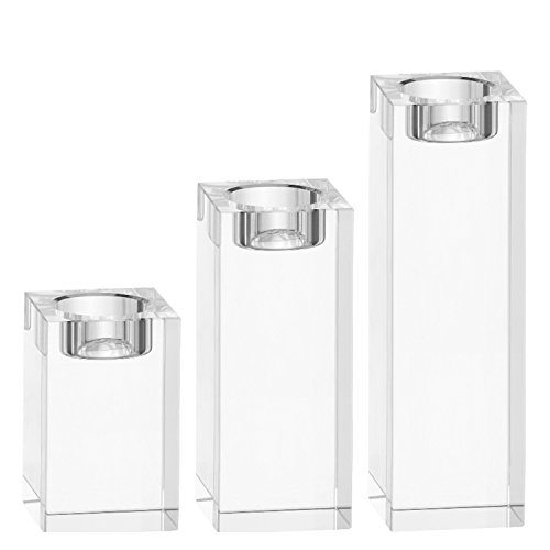 Amazing Home Large Crystal Candle Holders Set of 3, 3.1/4.7/6.2 inches Height, Prepackaged Elegant Heavy Solid Square Tealight Holders Set Centerpieces for Home Decoration, Wedding and Anniversary