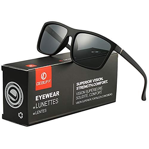 (DeBuff Mens Square Polarized Sunglasses Stylish Driving Sun Glasses - TAC, UV400 (Matte Black/Grey))