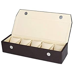 Hard Craft Leatherette Watch Torage Box Watch Collections Organizer for 5 Watches Brown