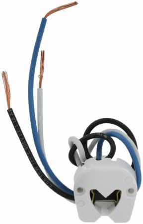Leviton 389-W Medium Base, Bi-Pin, Standard Fluorescent Lampholder, Butt-On, Screw Mount, Turn-Type, Disconnect with Blue Lead, White