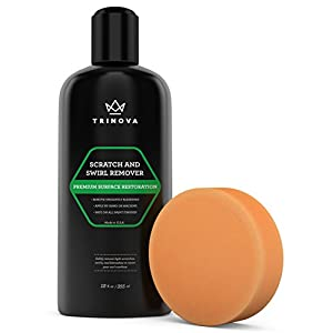 Scratch and Swirl remover - best abrasive compound for car paint restoration. Kit includes buffer pad and removal polish in a complete system. Ultimate Solution for clear coat care. 12oz TriNova.