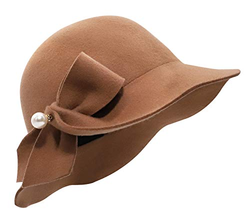 Bellady 1920 Vintage Cloche Bucket Hat Ladies Church Derby Party Fashion Winter, Pearl Style_Dark Camel