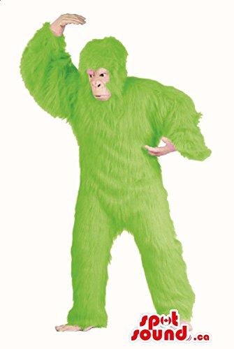 Green Gorilla Adult Costumes (Flashy Green Woolly Gorilla Plush Mascot SpotSound US Or Disguise)
