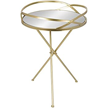 Exceptionnel Kate And Laurel Margeilla Modern Luxe Foldable Round Mirrored Table With  Metal Tripod Legs, Gold