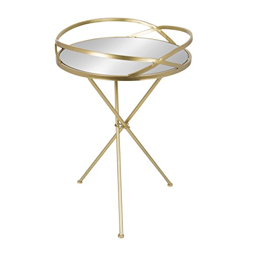 Kate and Laurel Margeilla Modern Luxe Foldable Round Mirrored Table with Metal Tripod Legs, Gold, 18-inch Diameter x 26.5-inches Tall