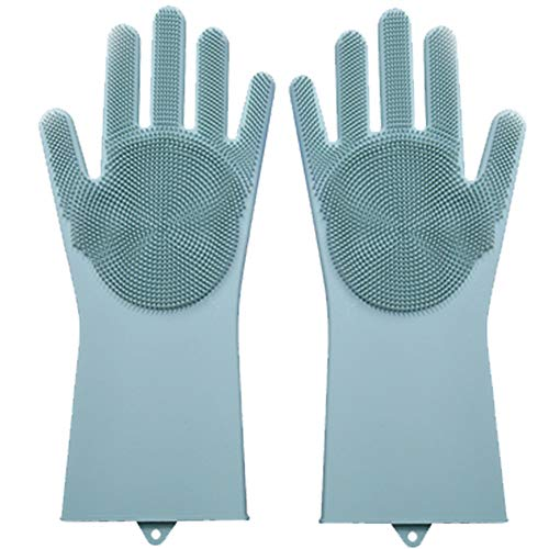 1 Pair Magic Silicone Gloves with Scrubber Multi-use Cleaning Brush Gloves for Washing Kitchen Bathroom Item Pet Care Car and More Heat Resistant Reuse (Blue) (1)