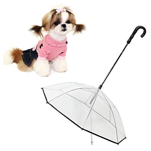 Dog Umbrella With Leash Transparent Pet Umbrella Pet Outdoor Rainproof Supplies Diameter 28.3 inches Provides Protection from Rain Snow Wet Weather (Black) (Times Umbrella Outdoor)