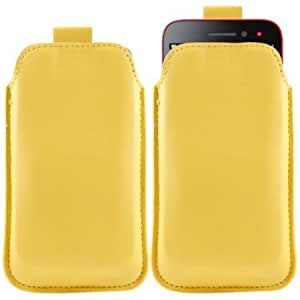 Bloutina iTALKonline YELLOW Quality PU Leather Slip Pouch Protective Case Cover with Pull Tab for LG E960 Nexus 4
