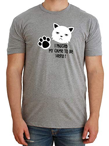 Paw Addict - Funny Grumpy Cat Video Game T-Shirts for Gamers - Gaming Pet Tshirt for Teen Boys & Girls - Comfy Cotton Made in USA Cats Tee - Trendy Gift Idea for Young Adults-XS