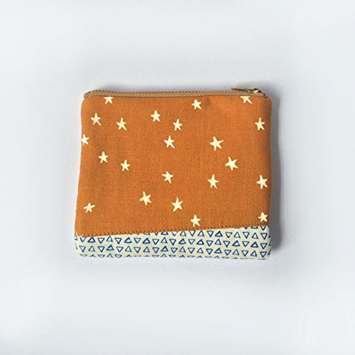 Small Zipper Pouch Padded • Coin Purse Wallet, Stars, Triangle, Cute Pattern Mix, Small Gifts, Holiday Gifts, Handmade Fabric Pouch