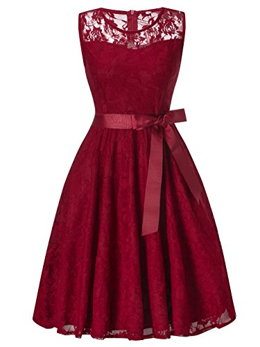 FAIRY COUPLE Women's Vintage Scoop Neck Lace Dresses With Bow Cocktail DL002(S,Burgundy) by FAIRY COUPLE