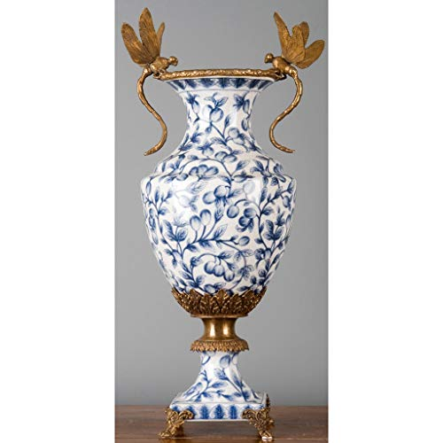 1pc, Home Décor, 8L X 8W X 20H Porcelain VASE with Bronze Ormolu and Dragonfly - Blue and - Dragonfly Vases Porcelain
