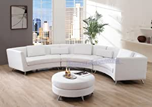 Amazoncom contemporary furniture white leather curved for Curved sectional sofa amazon