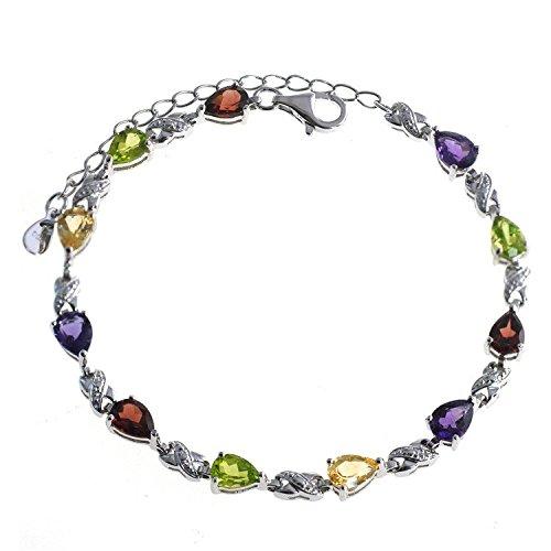 De Buman Genuine Garnet, Peridot, Amethyst and Natural Multi-colored Gemstones 925 Silver Bracelet (Multi-colored Gemstones)