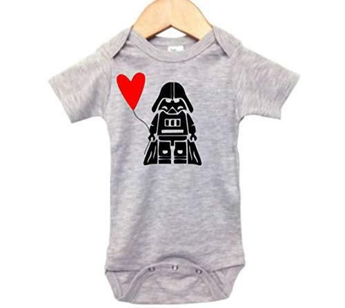 Valentine's Day Onesie/Darth Vader Bodysuit/Newborn Star Wars Outfit (12-18M, Grey -