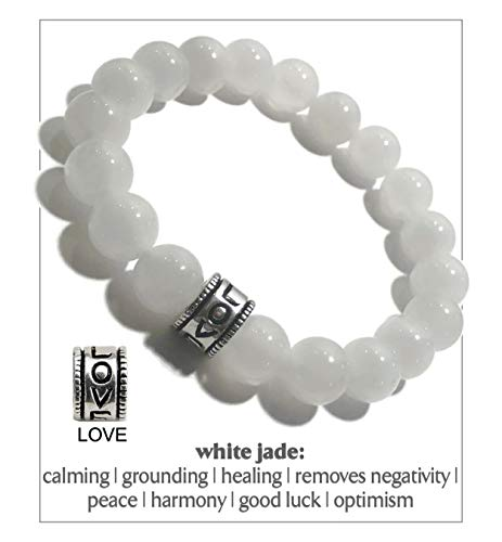 KarmaArm Healing Heart | White Jade Meditation Love Bracelet | Self-Care Wellness Wristband | Chakra Zen Reiki Healing Energy Jewelry | Boho Yoga Mala (6.5)