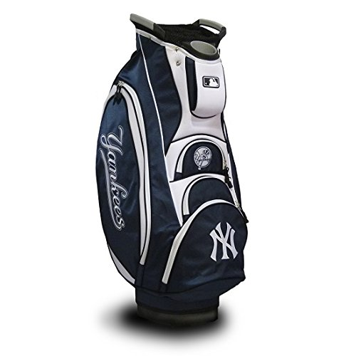 Team Golf MLB New York Yankees Victory Golf Cart Bag, 10-way Top with Integrated Dual Handle & External Putter Well, Cooler Pocket, Padded Strap, Umbrella Holder & Removable Rain Hood