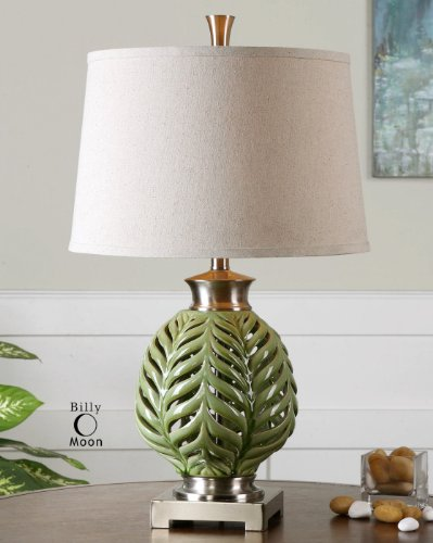 Fern Leaf Lamp (Green Fern Leaf Ceramic Table Lampe)