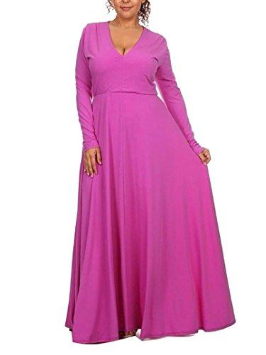 Grande Color Mujer Sólido Cóctel Talla Swing Manga Larga Básico Cuello Vestido V Rose Rockabilly del De Vestido Runyue xwvSYad4qq