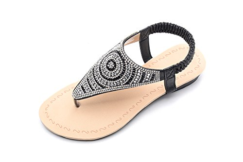 Mila Lady Sparkly Rhinestone Elastic Rear Thong Flat Dress Sandal for Women, GIAN Black Size 11