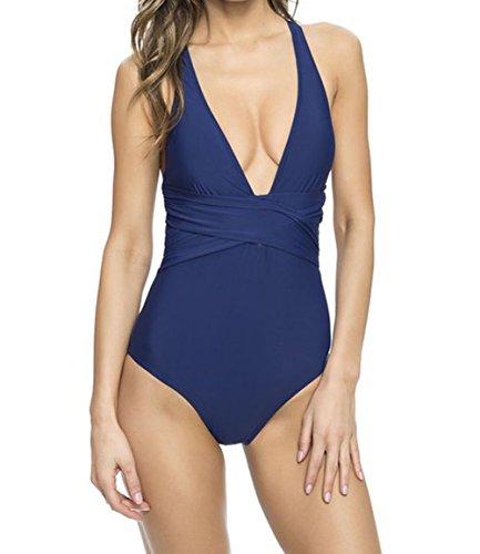 Shawhuwa Womens Sexy Retro V Neck Strappy One Piece Swimsuit Bathing Suit (XXX-Large, Navy Blue)