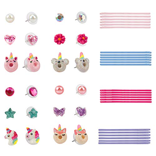 Wenhui's Wisdom Product Girls Jewelry - Hypoallergenic earrings Set for Kids, Unicorn Butterfly Rose Pearls Earrings For Kids and 24 PCS Mixed Color Cute Hair Clips