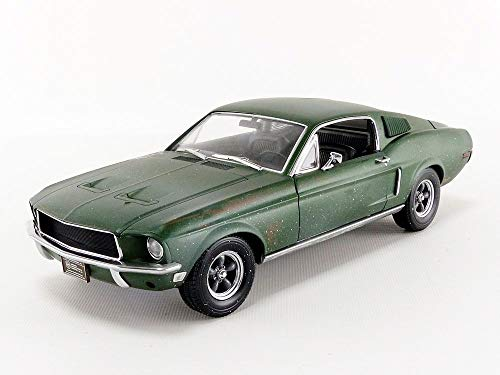 1968 Ford Mustang GT Fastback Green Unrestored Steve McQueen Collection (1930-1980) 2018 Detroit Auto Show 1/18 Diecast Model Car by Greenlight 13523