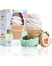 NatureBond Silicone Baby Teether - Cute Ice Cream Infant Teething Toy With Free Silicone Sling Pacifier Holder Clip | 5 Beautiful Colors | BPA Free | Suitable for all Babies