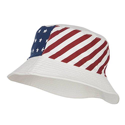 Reversible American Flag Bucket Hat - White -