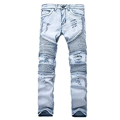 Discount Neverfunction Men's Blue Hiphop Pants Skinny Runway Ripped Destroyed Distressed Slim Denim Biker Jeans for sale