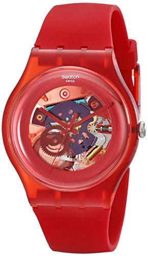 Swatch Women's SUOR101 Plastic Skeletal Red Dial Watch
