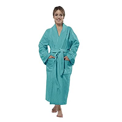 100% Turkish Cotton Frette Striped Velour Shawlcollar Women's Bathrobe by Chesme
