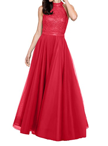 Tuell Ballkleider Lang Abschlussballkleider Abendkleider Rot Linie Partykleider Brautmutterkleider Charmant A Pailletten Damen qxtYwn4T