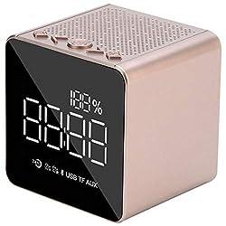 TOOGOO Led Bluetooth Wireless Mini Alarm Clock Mirror Small Sound Card Outdoor Portable Home Desktop Clocks MP3 Radio Smart Dimming(Rose Gold)