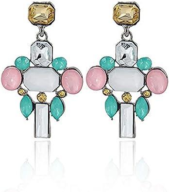 GLJIJID Pendientes Geométricos Cuadrados De Piedras Preciosas, Pendientes De Diamantes De Color Boutique De Mujeres, Te Hacen Más Hermoso Color Rosa