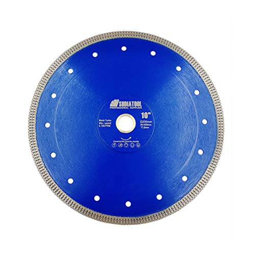 (SHDIATOOL Diamond Mesh Turbo Saw Blade 10 Inch for Tile Porcelain Ceramic Marble Brick with X Continuous Rim Segment)