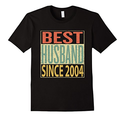 Mens Best Husband Since 2004 Shirt 13th Wedding Anniversary Gift XL Black