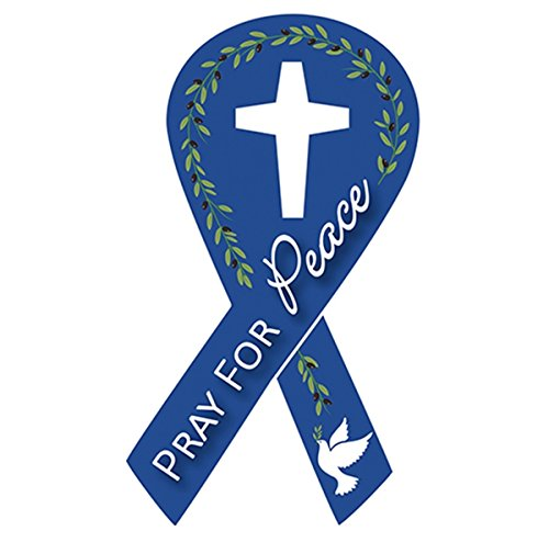 Pray for Peace Ribbon Auto Magnet with Holy Dove, 7 Inch
