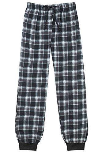 (North 15 Men's Super Soft, Plaid Minky Fleece Lounge Pants -1220-Design7-XL Grey-White)
