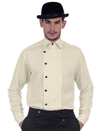 [Steampunk Victorian Costume Ulysses Side-Button Shirt (large)] (Steampunk Costumes Men)