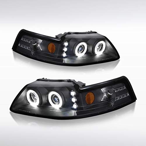 Mustang Dual Projector - Autozensation For Ford Mustang GT SVT Dual Halo Projector Headlights Black Head Lamps Pair